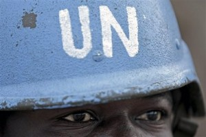 An UN peacekeeper in Darfur